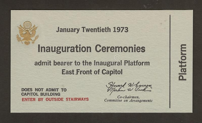Official Ticket to the Inauguration Richard Nixon royalty free stock photo