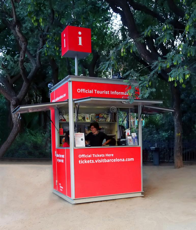 Official Tourist Information Booth. In downtown Barcelona, Spain stock image