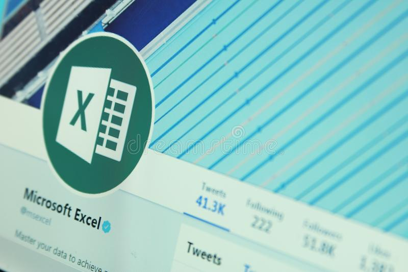 Microsoft excel twitter account. Official twitter account of microsoft excel on laptop screen royalty free stock photography