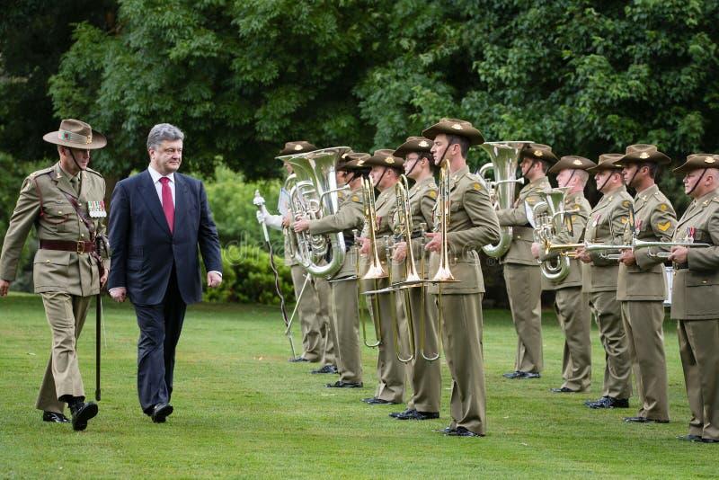 Official welcoming ceremony of President of Ukraine Poroshenko i. CANBERRA, AUSTRALIA - DECEMBER 11, 2014: Guard of honor during an official welcoming ceremony royalty free stock images