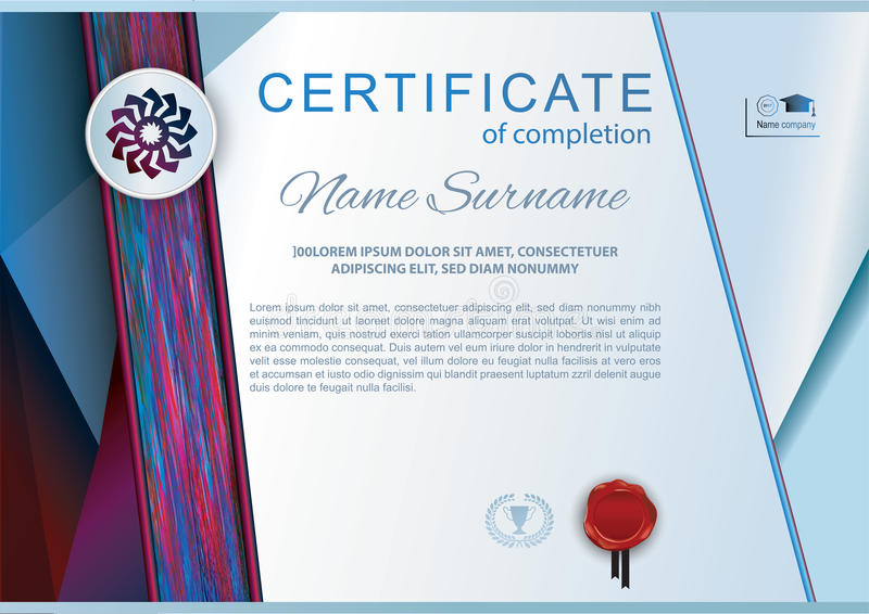 Official white blue certificate with emblem, red wafer and red blue silk fabric design element. Official blank vector illustration