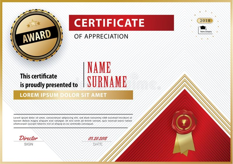 Official white certificate of appreciation award template with gold download official white certificate of appreciation award template with gold red shapes and black badge stock yelopaper Images