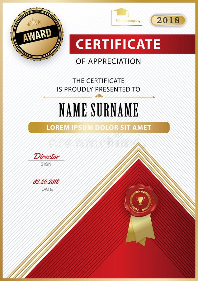 Official white certificate of appreciation award template with gold download official white certificate of appreciation award template with gold shapes and black badge stock vector yelopaper Images