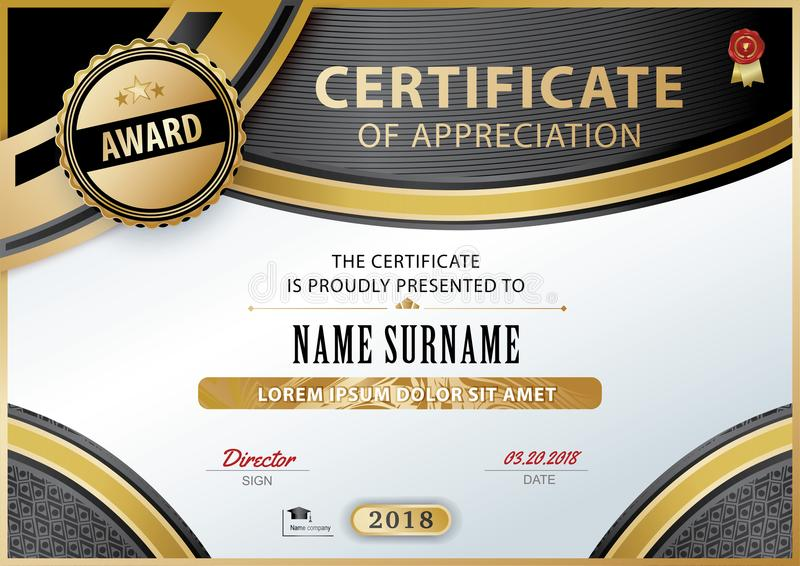 Official white certificate of appreciation with black gold design elements. Vector template vector illustration