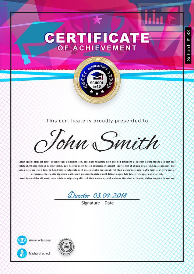 Official white certificate with pink blue triangles and education design elements, graduatioin cap, cup. Clean modern vector illustration