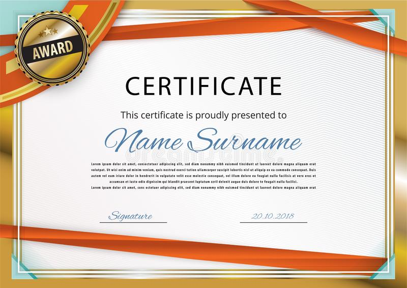 Official white certificate with gold border and red ribbons. turquoise corners. For business or education. Gold emblem stock illustration