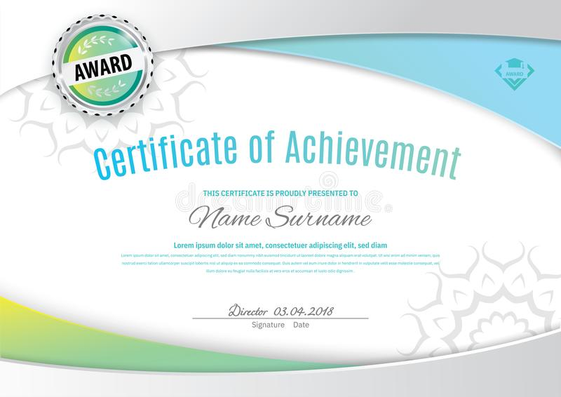 Official white certificate with green blue wave design elements. Business clean modern design vector illustration