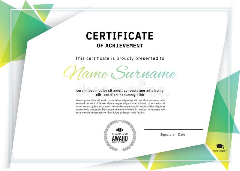 Official white certificate with green triangle design elements. Business clean modern design vector illustration