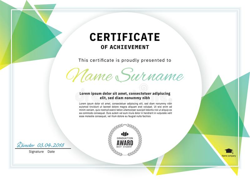 Official white certificate with green triangle design elements. Business clean modern design royalty free illustration
