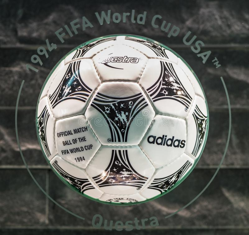 Official World Cup ball in FIFA premises royalty free stock photo
