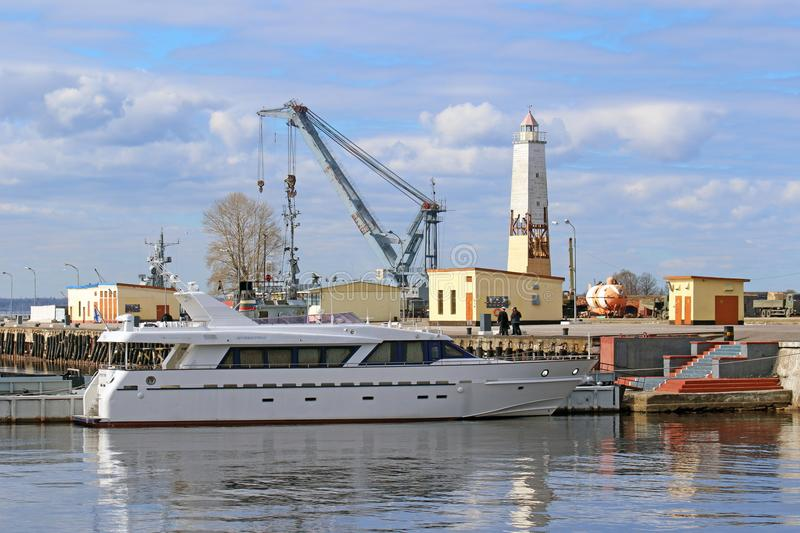 The official yacht of the commander-in-chief of the Russian Navy. Saint Petersburg, RUSSIA - MAY 04, 2017: Service-crew boat `Petrel` of the Chief of the Russian royalty free stock image