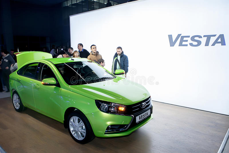 Officially began selling the new model Lada. NOVOSIBIRSK, RUSSIA - November 22:Dealers AvtoVAZ officially began selling the new model Lada news. Customers expect stock photography