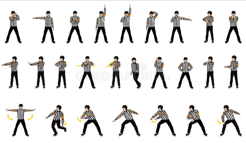 Icce hockey Officials or referee Signals stock photography