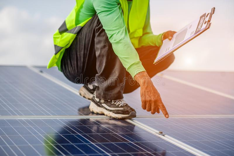 Officials are working on solar , alternative power supply, and floor space. Natural energy. Officials are working on solar panels, alternative power supply, and royalty free stock image