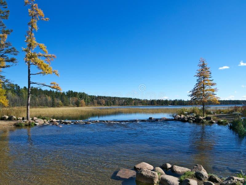Officieel begin van de Rivier van de Mississippi bij het Park van de Staat van Meeritasca, Minnesota stock foto's