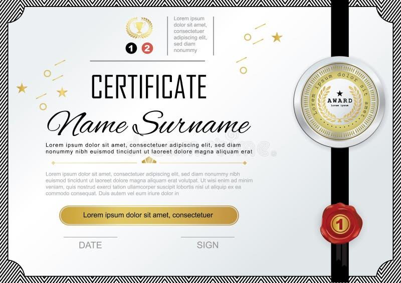 Officieel certificaat met kenteken en wafeltje Vector Malplaatje Gestreepte grens, gouden ontwerpelementen Officiële witte spatie stock illustratie
