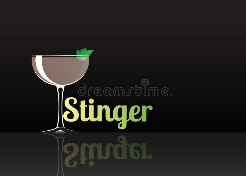 Officieel cocktailpictogram, de Onvergetelijke Stinger beeldverhaalillustratie stock illustratie