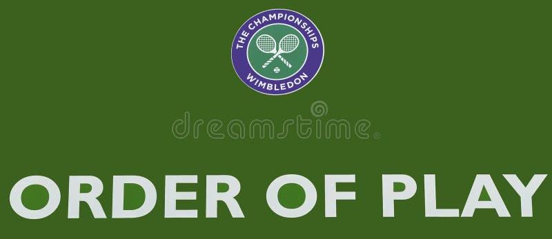 Officiell skylt av Wimbledon fotografering för bildbyråer