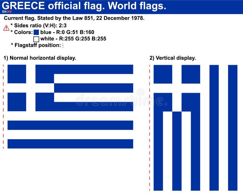 Officiell vektorGrekland flagga i horisontal- och vertikala desplays som påstås av lagen 851 av December 22, 1978 Grekiska flagga stock illustrationer