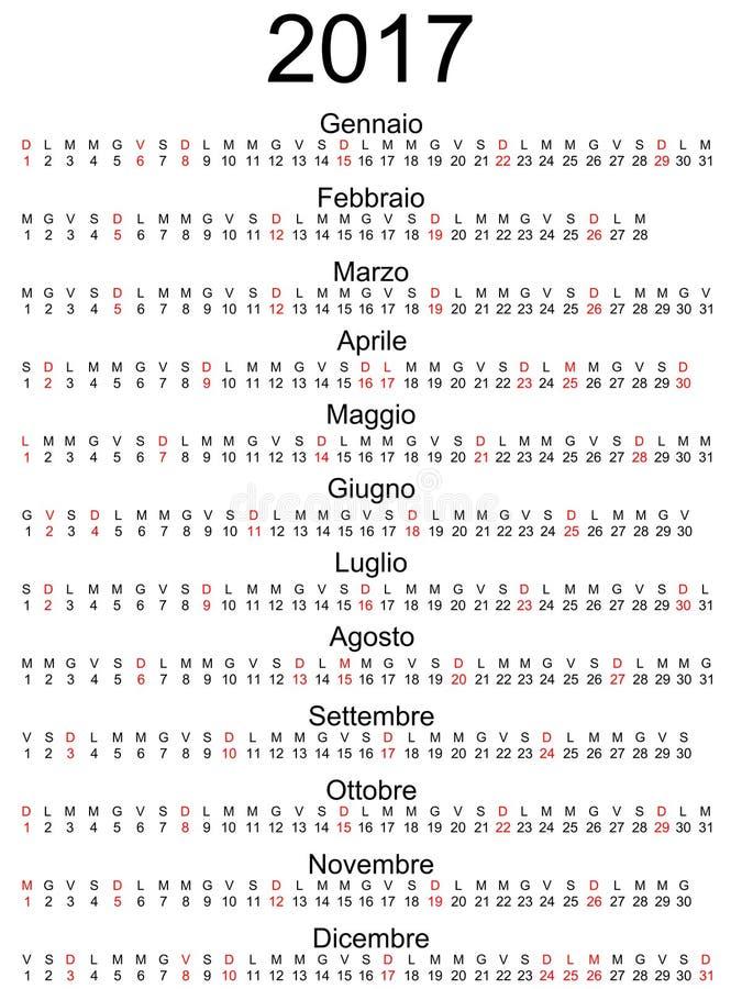 Officiella markerade italienareferier för kalender 2017 isolerat royaltyfri illustrationer