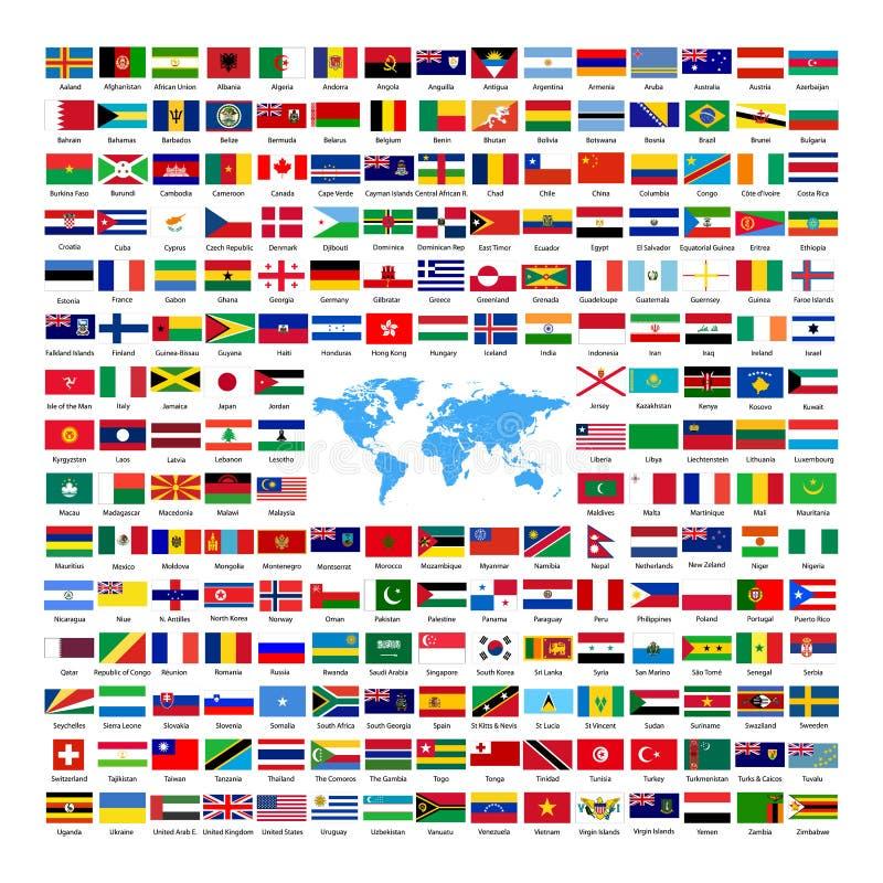 Officiella nationella landsflaggor stock illustrationer