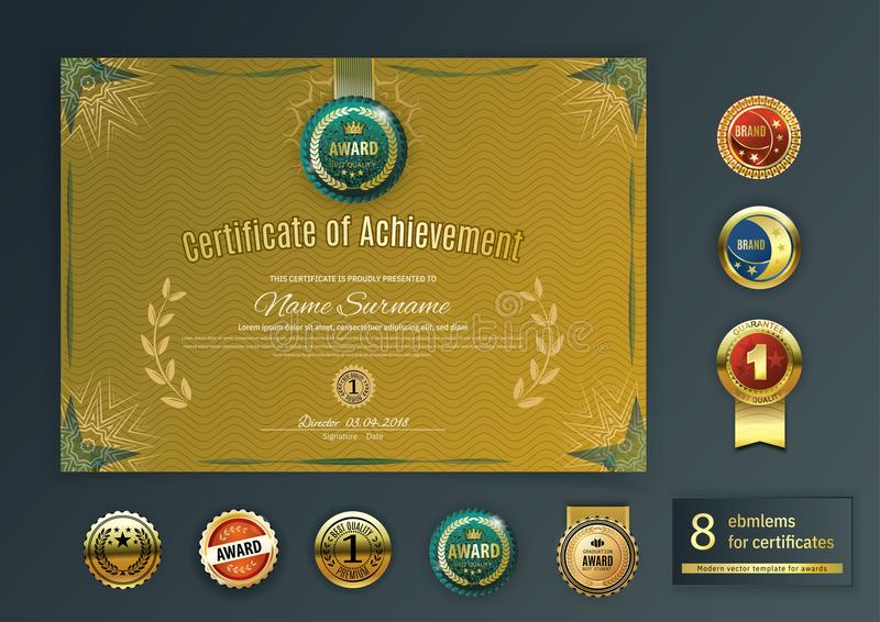 Officiella retro guld- beståndsdelar för certifikatturkosdesign Uppsättning av olika guld- emblem Modernt mellanrum för tappning  royaltyfri illustrationer