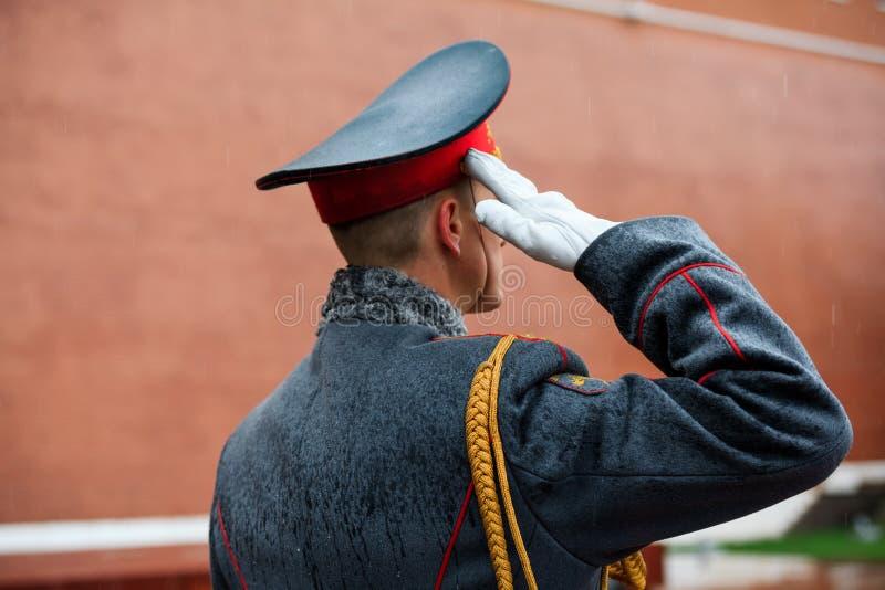 Officier gwardia honorowa 154 Preobrazhensky pułk w piechota mundurze przy solennym wydarzeniem obraz royalty free