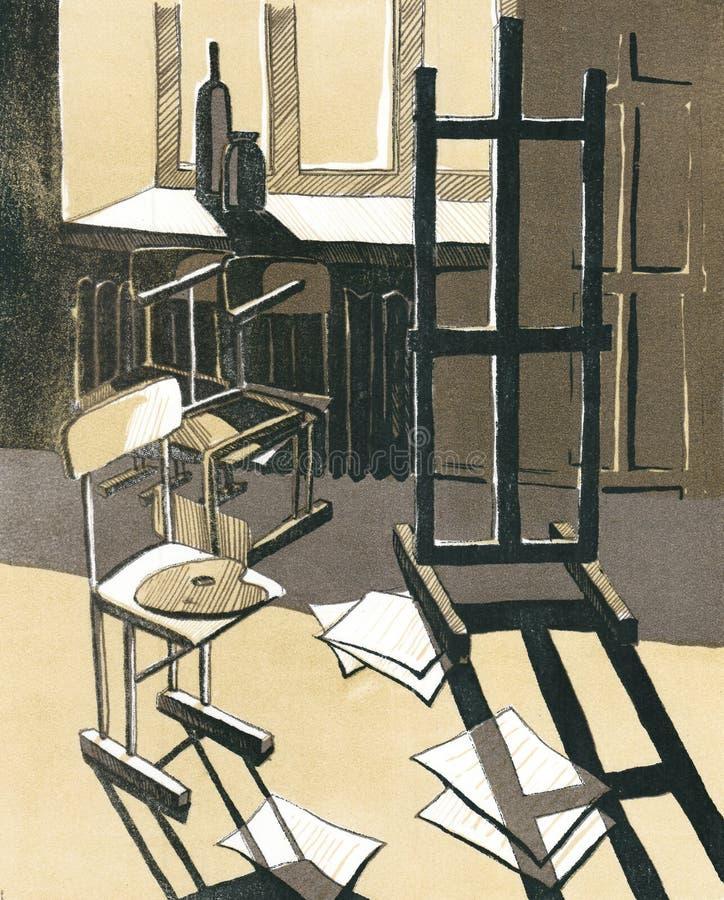 Officina del ` s dell'artista dell'illustrazione con lo sketchbook ed i fogli di carta illustrazione di stock