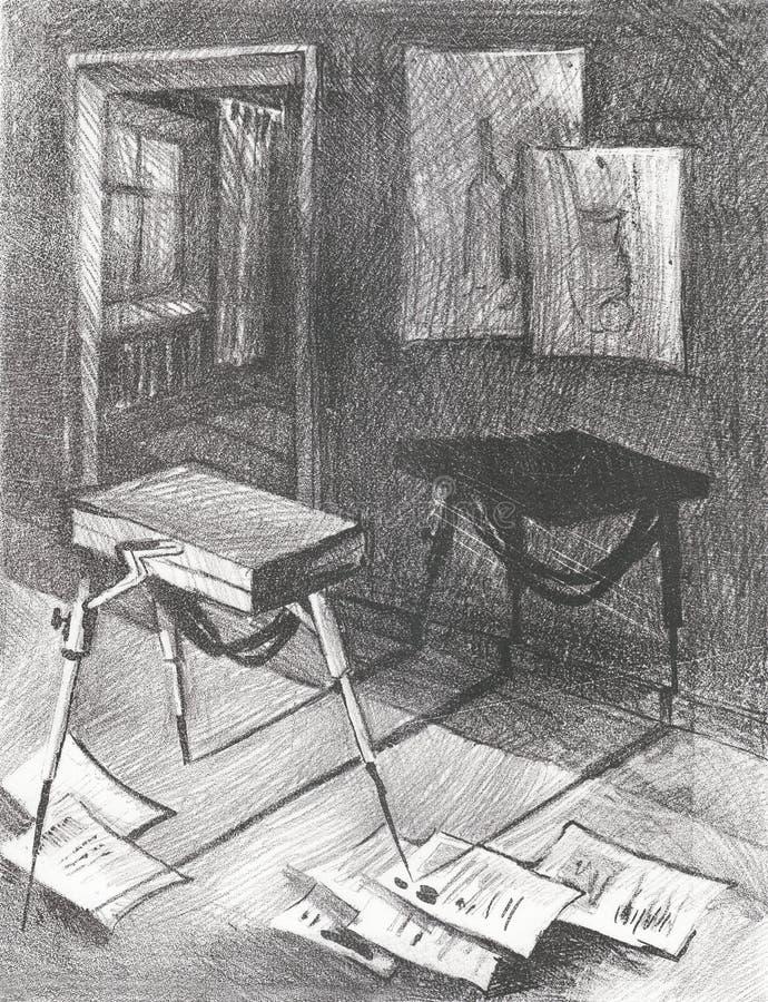 Officina del ` s dell'artista dell'illustrazione con lo sketchbook ed i fogli di carta royalty illustrazione gratis