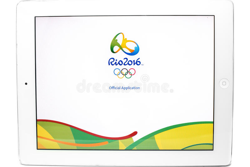 Offizielle Anwendung der 2016 Sommer-Olympischen Spiele lizenzfreie stockfotos