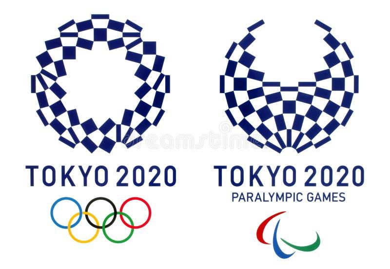 Offizielle Logos der 2020 Sommer-Olympischen Spiele in Tokyo, Japan stockfoto
