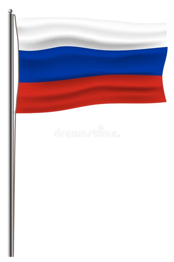 Offizielle Vektor Russland-Flagge schloss an einen Metallfahnenmast durch ein Seil an Lokalisiert auf weißer Russeflagge wellenar stock abbildung