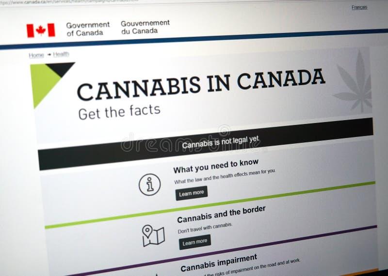 Offizielle Webseite auf Regierung von Kanada-Standort über Hanf lizenzfreie stockfotos
