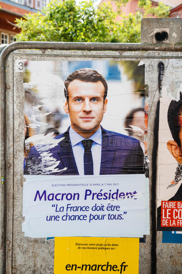 Offizieller Kampagnenposter von Emmanuel Macron stockfotografie