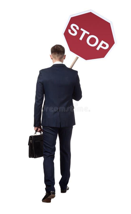 Offizieller Sekretär mit Verkehrsschild stockbild