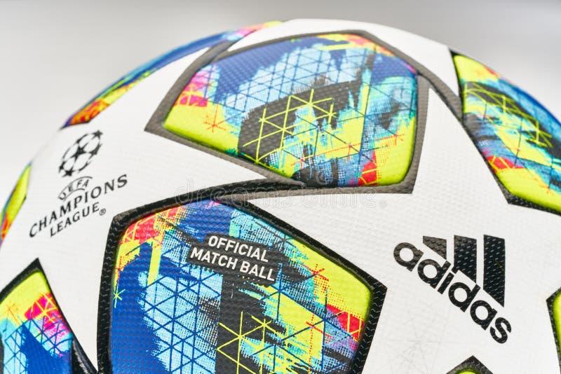 Offizieller Spielball der UEFA Champions League 2019/2020 lizenzfreies stockbild