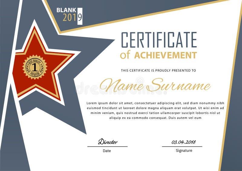 Offizielles blaues flaches Zertifikat mit beige Gestaltungselementen und rotem Stern Moderner Entwurf des Gesch?fts vektor abbildung