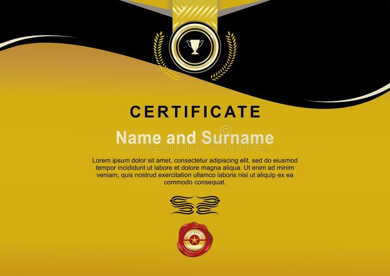 Offizielles Goldschwarzzertifikat mit Goldband und roter Oblate stock abbildung