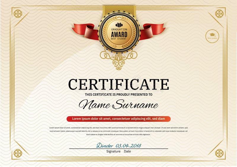 Offizielles Retro- Zertifikat mit roten Goldgestaltungselementen Rotes Band- und Goldemblem Moderner freier Raum der Weinlese stock abbildung