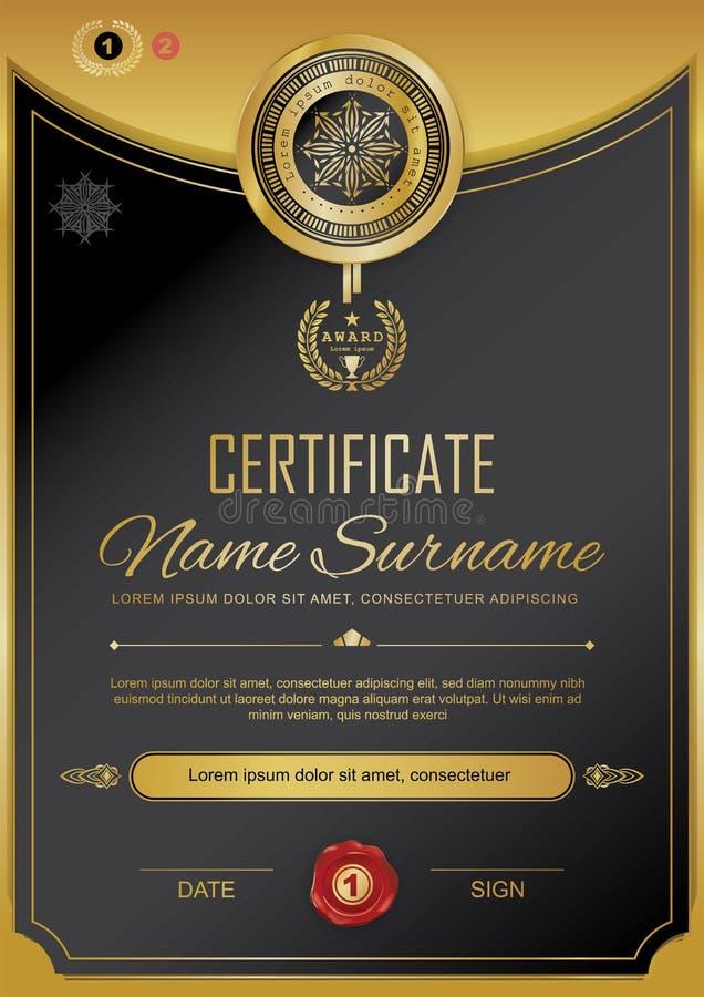 Offizielles schwarzes Zertifikat mit Ausweis und Oblate Rand der Farbband-, Lorbeer- und Eichenblätter Goldgestaltungselemente Of lizenzfreie abbildung