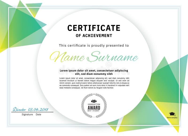 Offizielles weißes Zertifikat mit grünen Dreieckgestaltungselementen Sauberes modernes Design des Geschäfts lizenzfreie abbildung