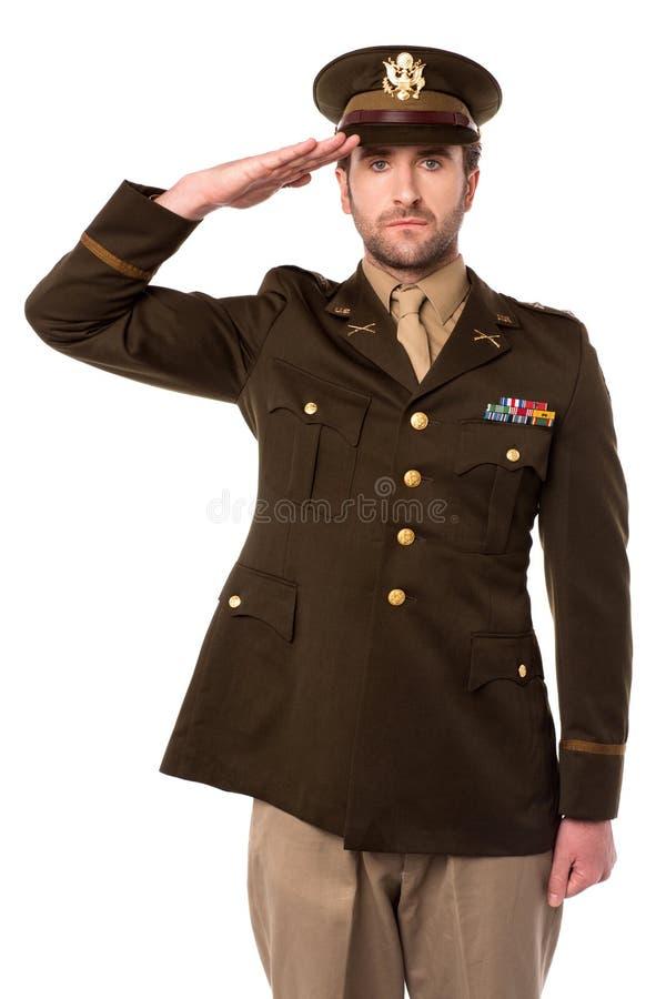 Offizier der AMERIKANISCHEN Armee, wenn sein Senior begrüßt wird stockbilder