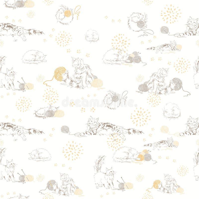 Offra il reticolo leggero con i gatti che giocano con le bugne. illustrazione vettoriale