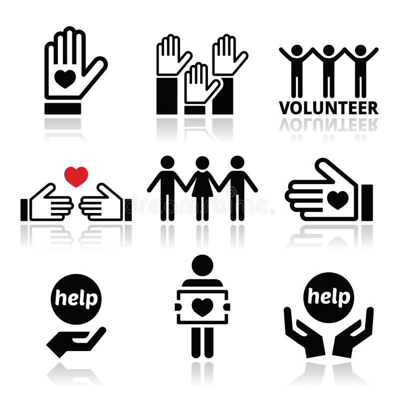 Offra volontariamente, la gente che aiuta o che dà le icone di concetto messe royalty illustrazione gratis