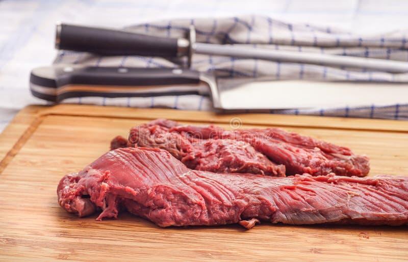 Offre accrochante, bifteck de cintre, onglet photo stock