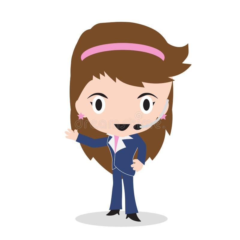 Offre de centre d'appels de femme d'affaires pour 24h toute l'heure ou support à la clientèle par le téléphone sur le fond blanc, illustration de vecteur