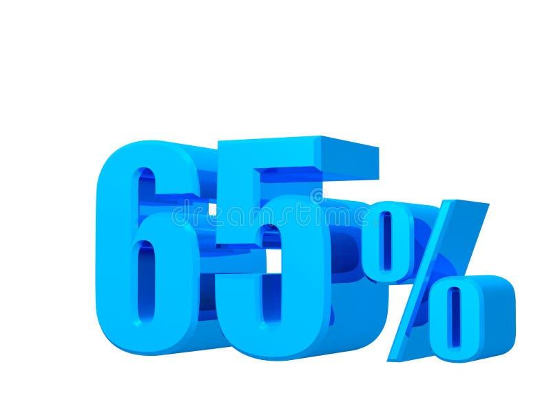 offre de 65%, prix d'offre, remise, promotion des ventes soixante-cinq de pour cent, rendu 3D sur le fond blanc illustration libre de droits