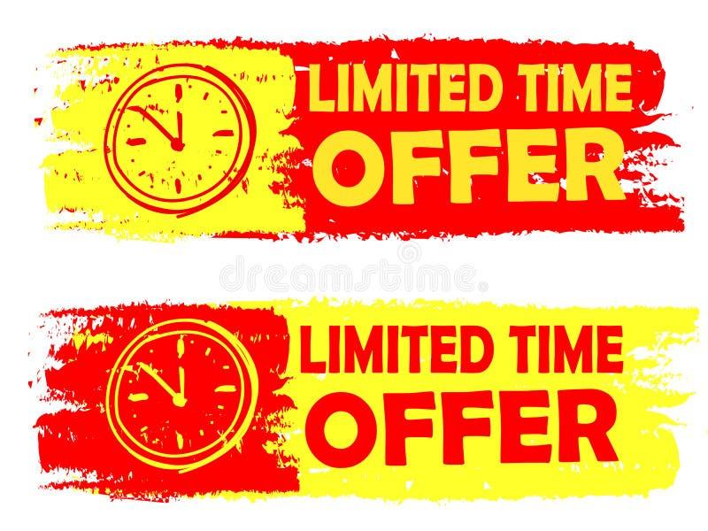Offre de temps limité avec les labels dessinés de signe d'horloge, jaunes et rouges illustration de vecteur