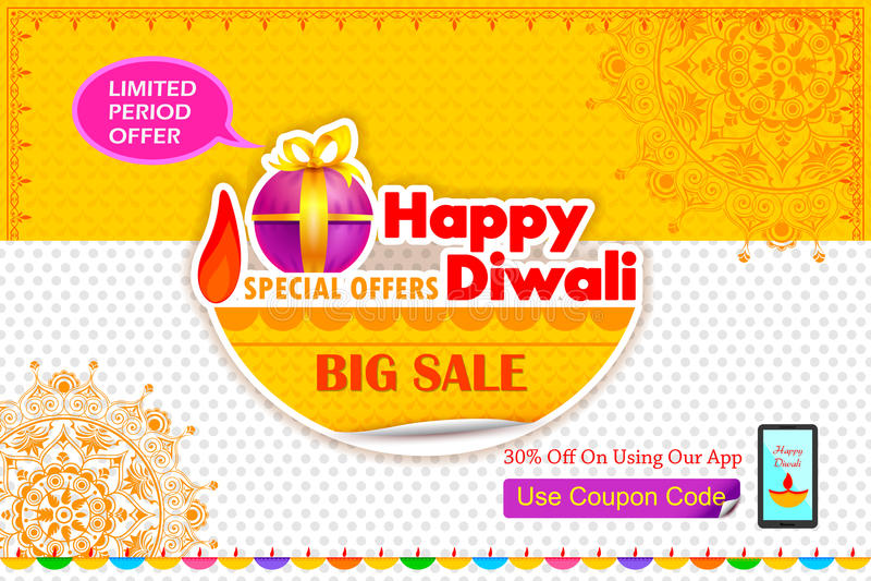 Offre heureuse de vacances de Diwali illustration stock
