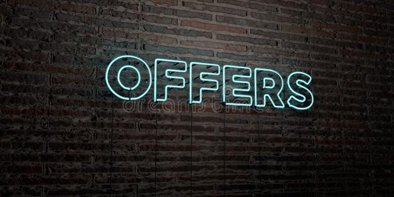 OFFRE - insegna al neon realistica sul fondo del muro di mattoni - l'immagine di riserva libera della sovranità resa 3D illustrazione di stock